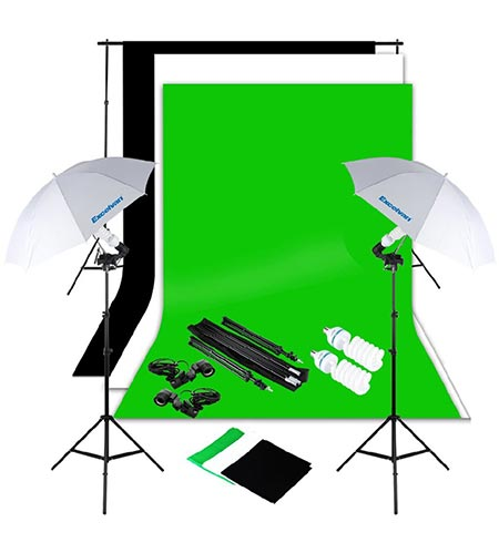 7 Excelvan Photography Lighting Kit 10x6.5FT 1250W Daylight Umbrella and Backdrop Support Stand and 3 Background 9x6FT, White Black Green