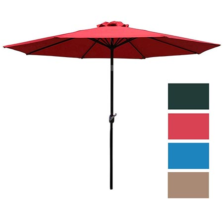 6 Sunnyglade 9' Patio Umbrella Outdoor Table Umbrella with 8 Sturdy Ribs (Red)