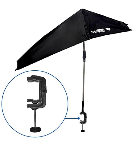 7 SolPro Clamp-On Shade Umbrella – 4 Way Clamp Umbrella with 360 Degree Swivel and Push Button Hinge. Great for Beach Chairs, Bleachers, Strollers, Wagons, Wheel Chairs or Golf Carts (Black)