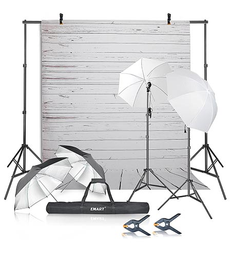 4 Emart Photography Umbrellas Continuous Lighting Kit, 400W 5500K, 10ft Backdrop Support System with Vinyl Plastic White Wood Floor Background Screen for Photo Video Studio Shooting