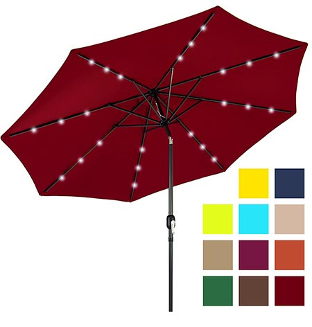 1 Best Choice Products 10ft Deluxe Patio Umbrella w/ Solar LED Lights, Tilt Adjustment