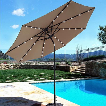4 BEAU JARDIN 9 ft Solar-Powered Patio Umbrella 32 LED Lights with Push Button Tilt Adjustment and Crank System 8 Rib Steel Pole Deluxe Outdoor Market Table Backyard Deck Poolside Polyester Tan
