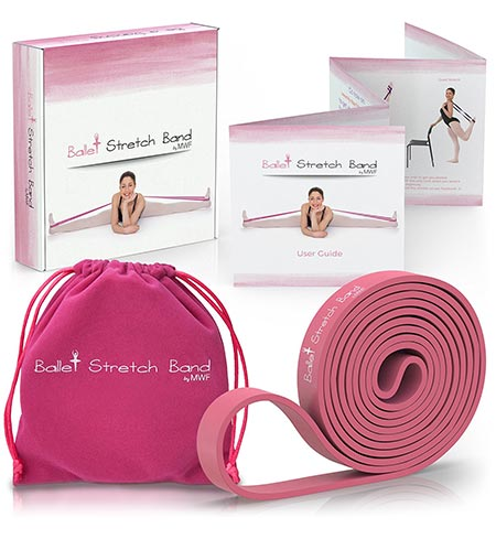 8. Ballet Stretch Band by MWF - Perfect for Ballet, Dance, Gymnastics and Ice Skating - Premium Gift Box, Velvet Bag and Guide Included