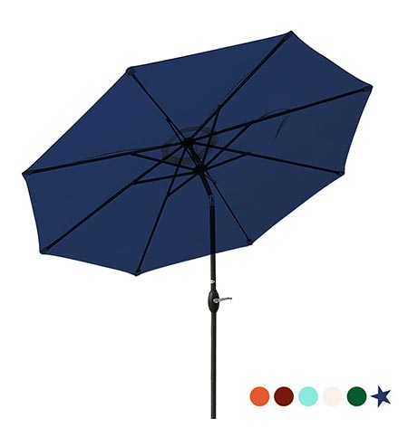 5Patio Umbrella 9 Ft Aluminum Outdoor Table Market Umbrellas With Push Button Tilt and Crank, Safety Bolt,8 Ribs (Navy Blue)