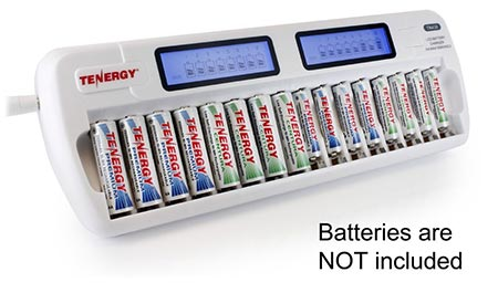 4. Tenergy TN438 16 Bay smart charger with LCD and built-in IC Protection
