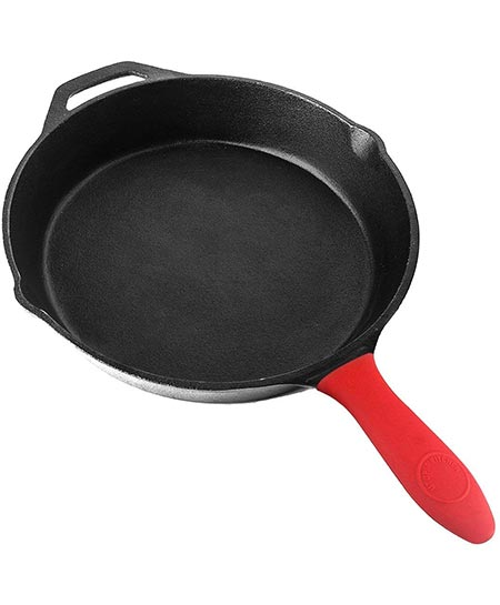 3. Pre-Seasoned Cast Iron Skillet with Silicone Hot Handle Holder