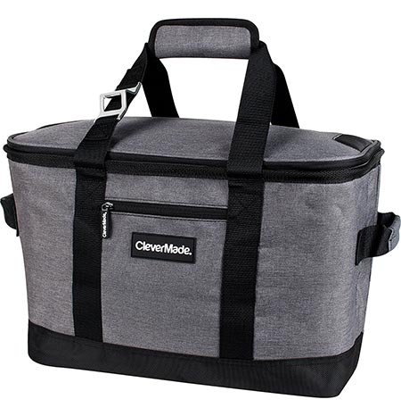 5. CleverMade SnapBasket 50 Can, Soft-Sided Collapsible Cooler: 30 Liter Insulated Tote Bag, Heathered Charcoal/Black