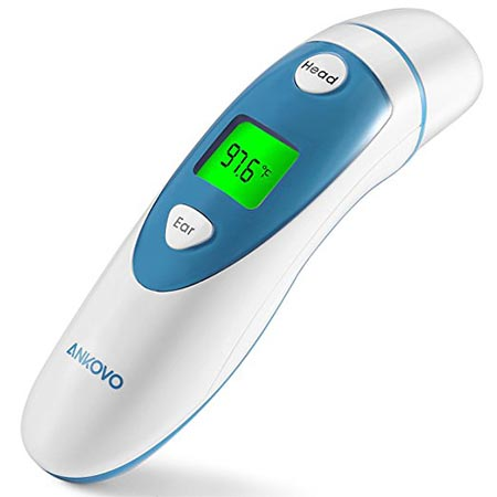 1. Ankovo Thermometer for Fever Digital Medical Infrared forehead and ear thermometer