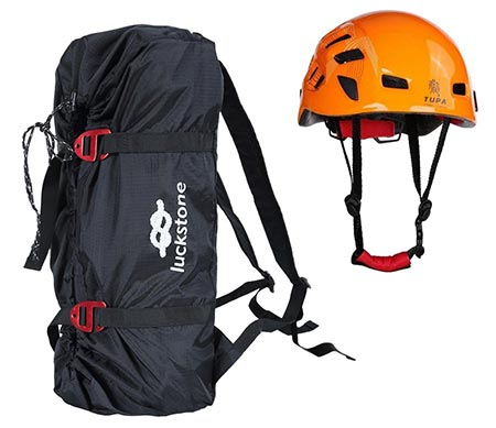 6. MonkeyJack Folding Rock Climbing Tree Arborist Caving Rappelling Rescue Rope Cord Bag Gear Equipment Carry Backpack + Safety Helmet Hard Hat