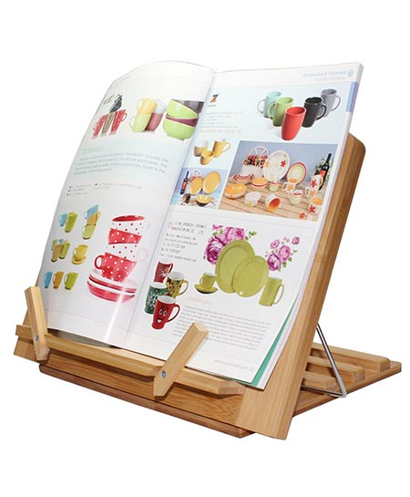 7. Bamboo Book Stand with Page Paper Clips