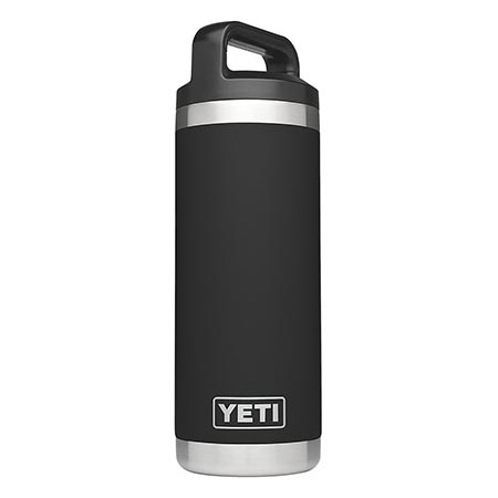 3. YETI Rambler 18oz Vacuum Insulated Stainless Steel Bottle with Cap, Black DuraCoat