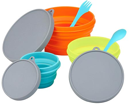 8. LevelOne Collapsible Silicone Camping 3PC Bowl Set