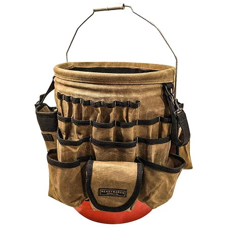 4. Readywares Waxed Canvas Tool Bucket Organizer