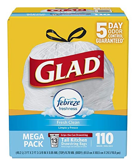 1. Glad OdorShield Tall Kitchen Trash Bags