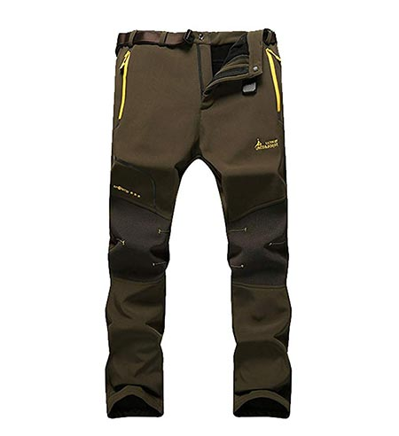 5. MorryOddy Men's Softshell Fleece Snow Pants