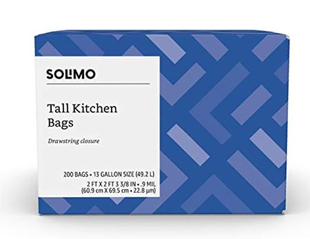 10. Solimo Tall Kitchen Drawstring Trash Bags