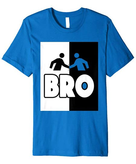 6. Bro Fist Bump. T-shirt White/Black Logo Color - Brother Tee