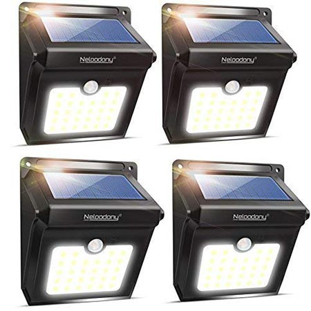 6. Neloodony Solar Lights Outdoor, Wireless 28 LED Motion Sensor Solar Lights with Dark Sensing Auto On/Off, Easy Install Waterproof Security Lights for Front Door, Back Yard, Driveway, Garage (4 Pack)
