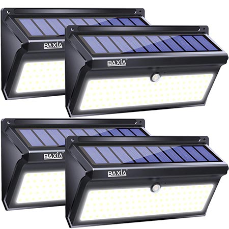 2. BAXIA TECHNOLOGY Solar Lights Outdoor, Wireless 100 LED Solar Motion Sensor Lights Waterproof Security Wall Lighting Outside for Front Door, Backyard, Steps, Garage, Garden (2000LM, 4PACK)