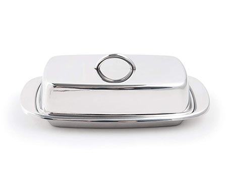 9. Fox Run 6510 Stainless Steel Butter Dish with Lid