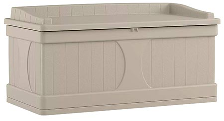 1. Suncast 99 Gallon Patio Storage Box - Large Water Resistant Outdoor Storage Container for Patio Furniture