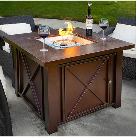 6. XtremepowerUS Premium Outdoor Patio Heaters LPG Propane Fire Pit Table Adjustable Flame Hammered Bronze Steel Finish