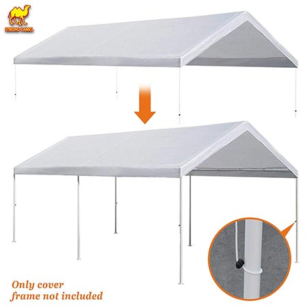 9. Strong Camel 10'x20' Carport Replacement Canopy Cover for Tent Top Garage Shelter Cover w Ball Bungees (Only Cover, Frame is not Included)