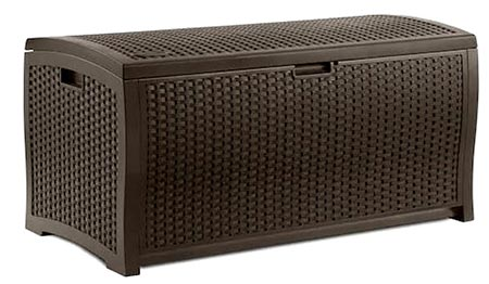 6. 4ft Storage Bench 73 Gallon Patio Resin Rattan Lidded Storage Box Mocha Brown Large