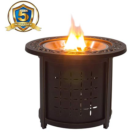 "7. Stanbroil 30"" Round Cast Aluminum Outdoor Propane Gas Fire Pit Table with Round Burner Ring, Bronze"