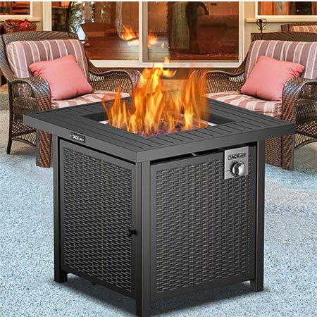 4. TACKLIFE Propane Fire Pit Table, 28 inches