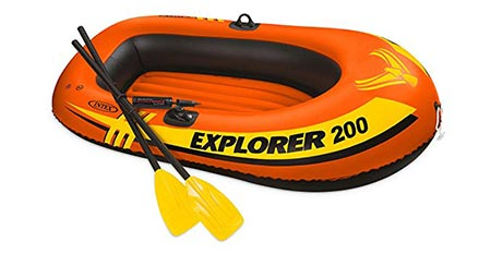1. Intex Explorer 200, 2-Person Inflatable Boat Set with French Oars