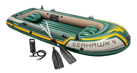 5. Intex Seahawk 4, 4-Person Inflatable Boat Set with Aluminum Oars and High Output Air Pump (Latest Model)