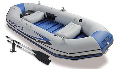 6. Intex Mariner 3, 3-Person Inflatable Boat Set with Aluminum Oars and High Output Air Pump (Latest Model)
