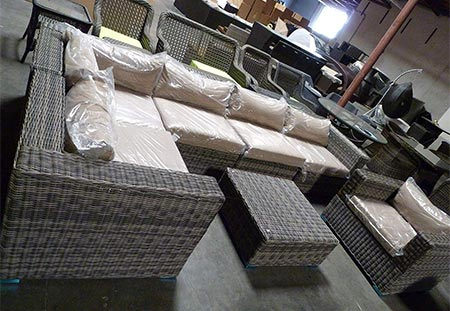 9. Distressed Outdoor Wicker Sectional Sofa Chair Coffee Table Patio Furniture Set