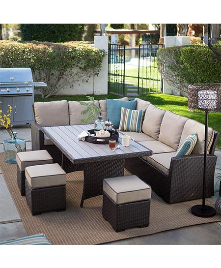 4. Beltic Living Monticello Dark Brown Modern All Weather Wicker Aluminum Sofa Sectional Patio Dining Set