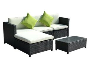 Goplus Outdoor Patio 5PC Furniture Sectional PE Wicker Rattan Sofa Set Deck Couch Black