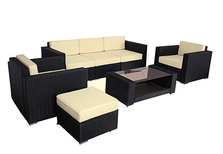 6. Polar Aurora 7pcs Outdoor Patio Furniture Rattan Wicker Sectional Sofa Chair Couch Set Deluxe (Black)