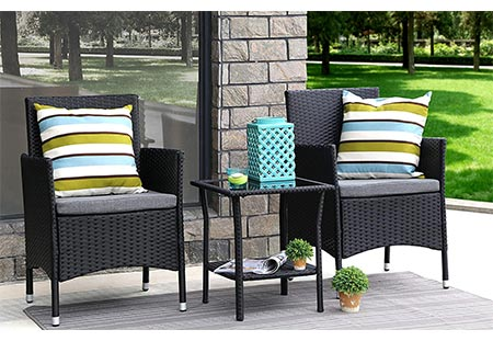 2. Baner Garden 3 Pieces Outdoor Furniture Complete Patio Cushion PE Wicker Rattan Garden Dining Set, Full, Black (Q16)