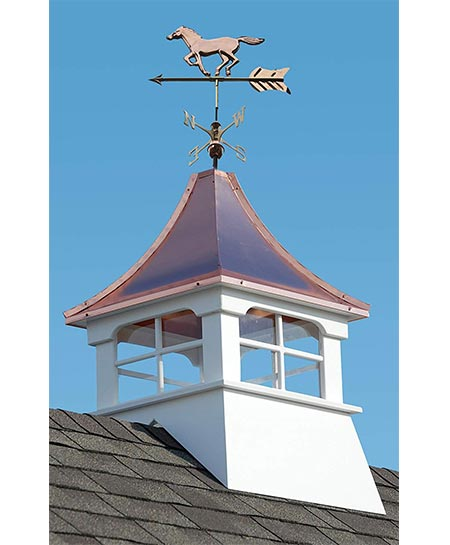 6. Accentua Charleston Cupola with Horse Weathervane, 24 in. Square, 53 in. High
