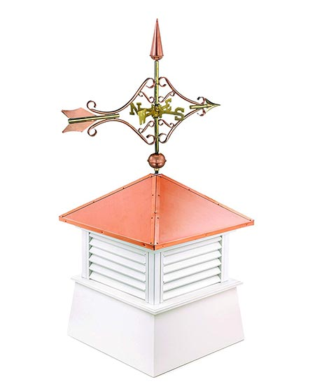 "5. Manchester Vinyl Cupola with Victorian Arrow Weathervane, Perfect Size for a Small Shed, 18"" square x 44"" high, Pure Copper Roof"