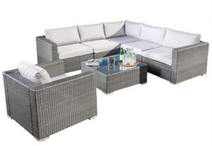 Great Deal Furniture Francisco Outdoor 7-Piece Grey Wicker Seating Sectional Set with Cushions