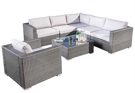 8. Great Deal Furniture Francisco Outdoor 7-Piece Grey Wicker Seating Sectional Set with Cushions