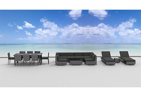1. Urban Furnishing.net - 19 Piece Outdoor Dining and Sofa Sectional Patio Furniture Set