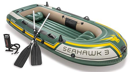 7. Intex Seahawk 3, 3-Person Inflatable Boat with Aluminum Oars and High Output Air Pump (Latest Model)