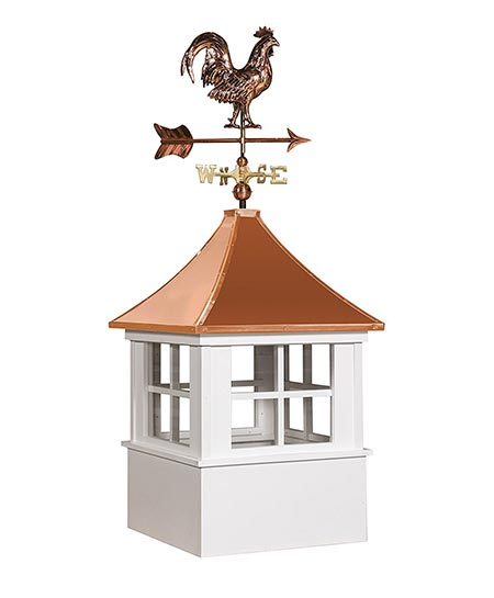 4. East Coast Weathervanes and Cupolas Vinyl Deerfield Cupola With Rooster Weathervane (vinyl, 21 in square x 49 in tall)