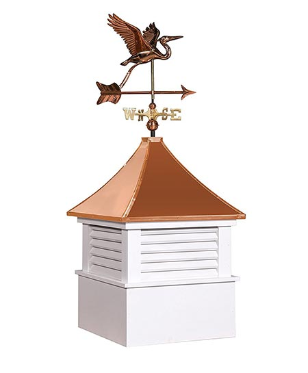 3. East Coast Weathervanes and Cupolas Vinyl Attleboro Cupola With Heron Weathervane (vinyl, 21 in square x 49 in tall)