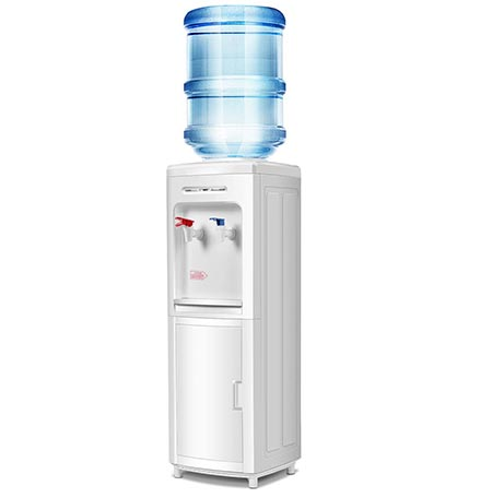 2. Giantex Top Loading Water Cooler Dispenser 5 Gallon Normal Temperature Water And Hot Bottle Load Electric Primo Home with Storage Cabinet, White