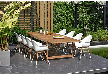 7. Brampton 9 Piece Outdoor Eucalyptus Extendable Dining Set