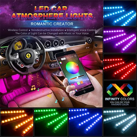 4-Wsiiroon Multi-Color Music Strip Light