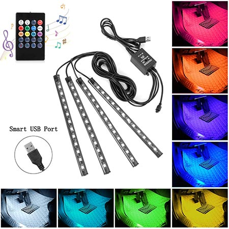 2-SUNNEST Car LED Multi-Color USB Strip Light